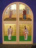 Sanctuary doors with the representation of 'The Annunciation of the Virgin'